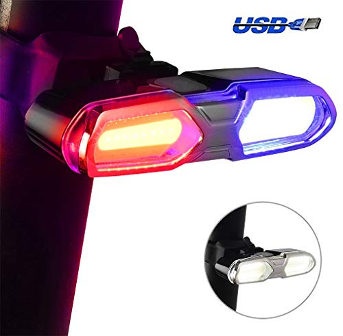 DON PEREGRINO High-End LED Bike Tail Light White, Red & Blue - 46 COB Super Bright - USB Rechargeable - Waterproof - Multipurpose Emergency Light
