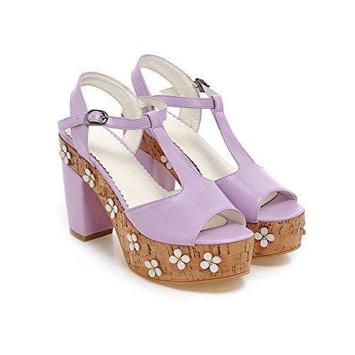 AmoonyFashion Womens Solid PU High-Heels Open-Toe Buckle Sandals Purple 5Vd4WD