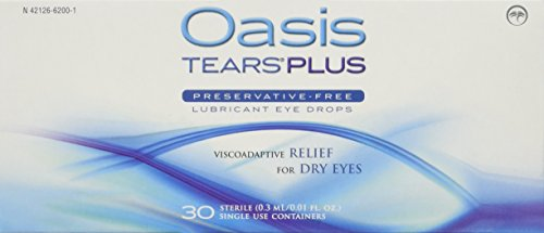 Oasis TEARS PLUS Preservative-Free Lubricant Eye Drops, 30 containers, 0.3 ML/0.01 FL OZ ()
