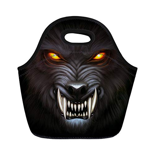 Semtomn Neoprene Lunch Tote Bag Fantasy Angry Werewolf Face in Darkness Digital Painting Fierce Reusable Cooler Bags Insulated Thermal Picnic Handbag for Travel,School,Outdoors,Work ()