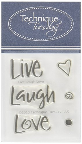 """Technique Tuesday Clear Stamps 2""""X2.5""""-Live Laugh Love"""