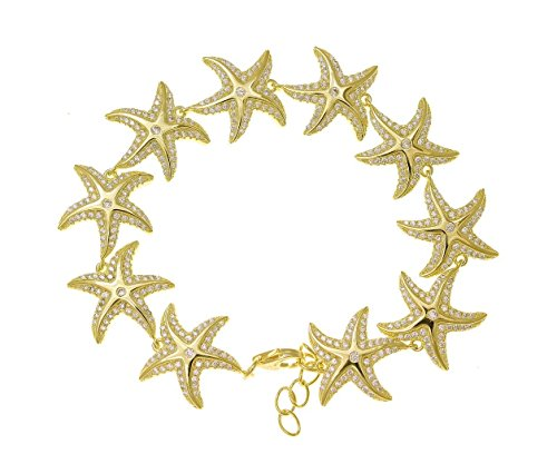 925 solid sterling silver yellow gold plated Hawaiian sea starfish cz bracelet 7'' by Arthur's Jewelry