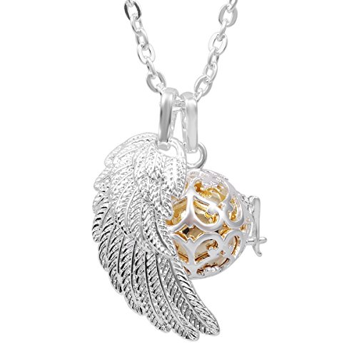 Eudora Harmony Bola Angel Wing Musical Chime Ball 16mm Pendant Necklace Pregnancy Gift & 30'' Chain Gold