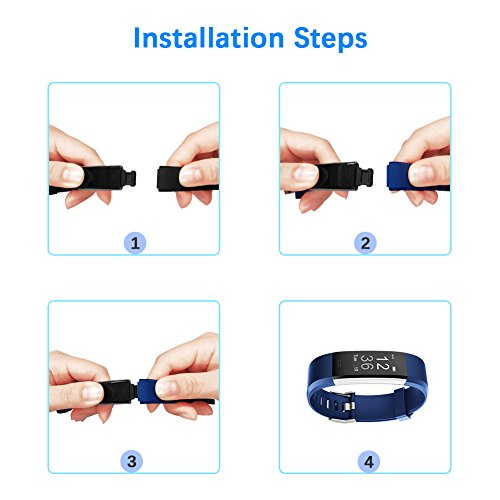 Large Product Image of LETSCOM Replacement Bands for Fitness Tracker ID115PlusHR, 3 Pack (Black, Blue, Purple)
