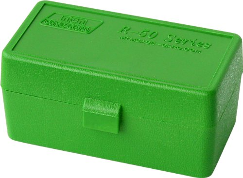 MTM 50 Round Flip-Top Rifle Ammo Box 22 Hornet, .30 Carbine, .218 BEE (Green)