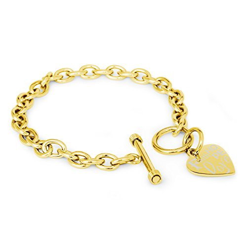 Gold Plated Stainless Steel Faith Love Hope Engraved Heart Tag Charm, Bracelet Only ()