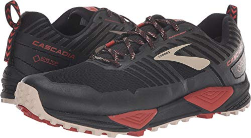 Brooks Men's Cascadia 13 GTX Black/Red/Tan 9 D US