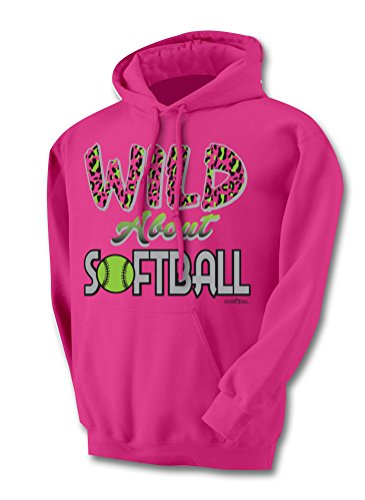 buy Sports Katz Womens 'Wild about' SOFTBALL Hoodie Heliconia Medium for sale
