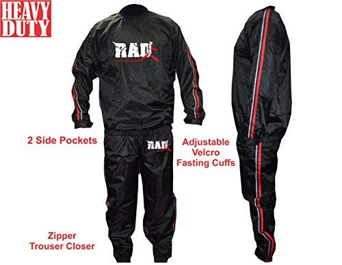 RAD Heavy Duty Sweat Suit Sauna Exercise Gym Suit Fitness Weight Loss Anti-Rip Red (XL)