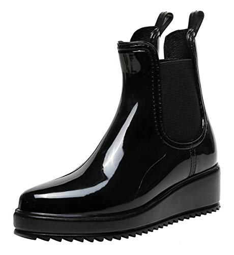 Vitalo Rubber Rain 1black Ankle Boots Waterproof Wedge Womens Chelsea Welly rqOrSf