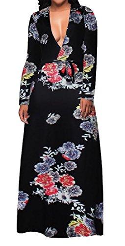 V Deep Neck Maxi Dress Black Floral Elegant Womens Cruiize Print Long Belted Sleeve AqEwtfWvx