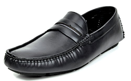 Bruno MARC MODA ITALY OAKLAND-01 Men's Classic On The Go Driving Casual Slip On Loafers Boat Moccasins Shoes BLACK SIZE 6.5