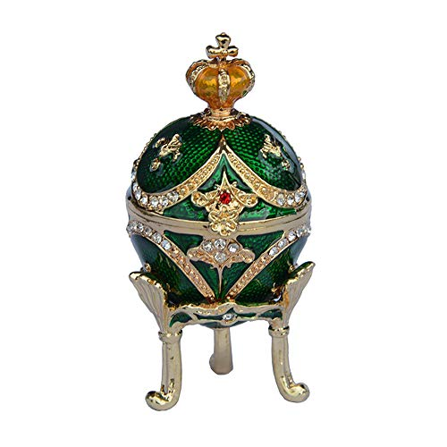 Jiaheyou Egg w Crown Bejeweled Jewelry Trinket Box Mini Box Metal Crafts Birthday Gifts Her Collectibles