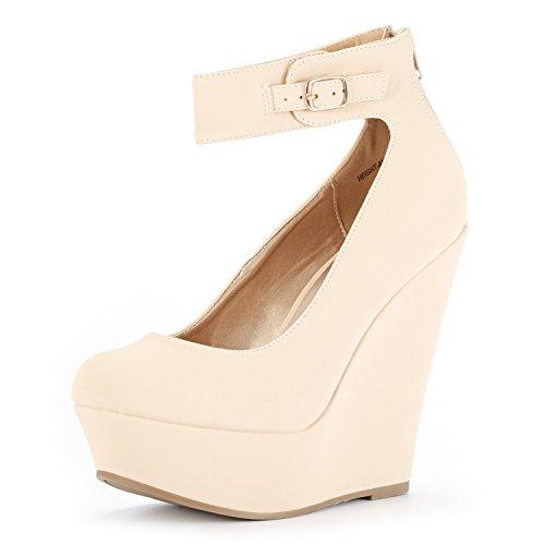 DREAM PAIRS Women's Height-Ankle Nude Nubuck Elegant Ankle Strap Rear Zipper Closure Wedge Heel Platform Pumps Shoes Size 5 B(M) US ()