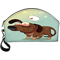 Funny Small Portable Cosmetic Bag,Puppy in Love Werner Dog Romance Confusion Humor Caricature Style Pet Graphic For Women,Half Moon Shell Shape One size