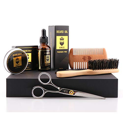 Beard Grooming Kit,5-in-1,Unscented Beard Oil and Beard Balm,Beard Brush,Barber Scissors for Styling,Beard Comb,Mustache Trimming Set for Men Care