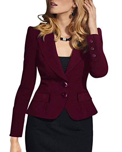 Corto Single Autunno Giacca Bavero Da Cappotto Coat Tailleur Di Moda Giovane Slim Rot Lunga Fit Solidi Manica Breasted Business Colori Donna H6YFwxx