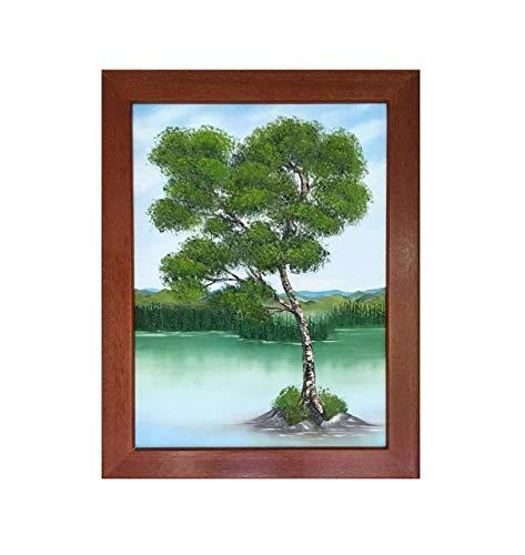 Balau Wood - Thriving Birch Original Oil Painting in Red Balau Mahogany Hardwood Frame