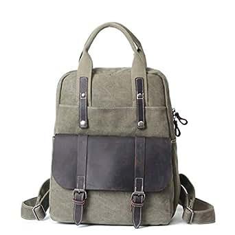 Mens Bag Casual Business Briefcase Shoulder Messenger Crossbody Satchel Tote Bag Office British Retro Style Backpack Handbag High capacity (Color : ArmyGreen)