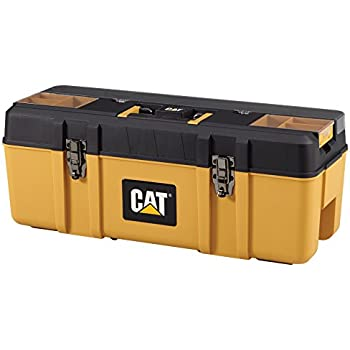 "Cat Premium Plastic Portable Tool Box with Lid Organization and Removable Tote, 26"" W - Designed, Engineered and Assembled in the USA"