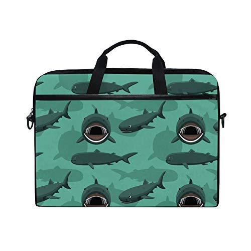 PENGTU 15-15.4 Inch Laptop Bag Megamouth Shark Cartoon Background Seamless Wallpaper Shoulder Messenger Bags Sleeve Case Tablet Briefcase with Handle Strap
