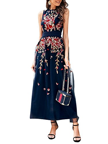 BerryGo Women's Elegant Floral Embroidered Mesh Lace Dress Cocktail Sleeveless Navy, M ()