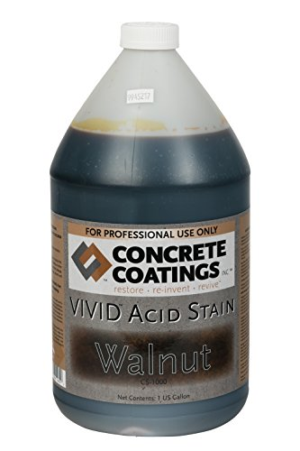 VIVID Acid Stain - 1 Gal - Walnut (Rich Black W/Brown Undertone) (Kit Concrete Stain)