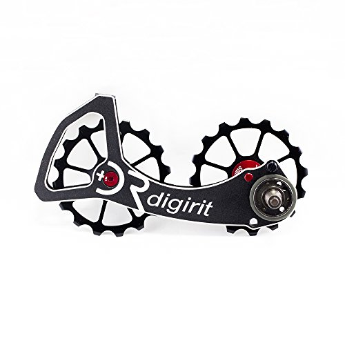 Digirit SRA 16/16T Bike Rear Derailleur Oversized Pulleys Wheel Set with Alloy Cage Black Alloy Pulley Stainless Bearings for SRAM Reb Force. Rival 10s and ()