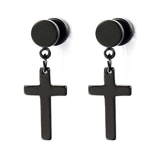 Pair of Black Screw Stud Earrings with Cross Unisex Men Women -