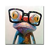 Fokenzary Hand Painted Oil Painting Pop Frog with Glasses on Canvas Wall Art Framed Ready to Hang (24x24in)