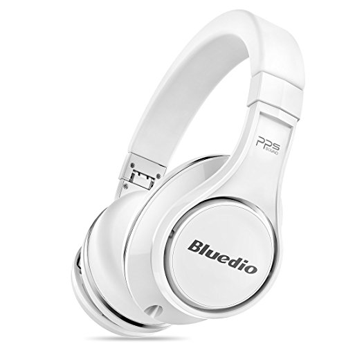 Bluedio U (UFO) PPS 8 Drivers High-End Bluetooth headphones Revolution/3D Sound Effect/Aluminum alloy build/Hi-Fi Rank wireless&wired Over-Ear headsets with carrying hard case Gift-package (White)