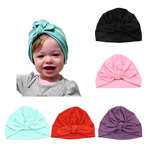 Vintage Girls Cap - BQUBO 5 Pieces Cute Turban Hats for Baby Girls Vintage Soft Bun Knot Infant Toddler Baby Cap
