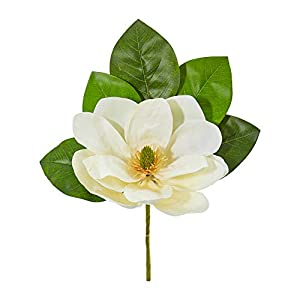 Nearly Natural 2277-S6 18-in. Magnolia Artificial (Set of 6) Silk Flowers White 25