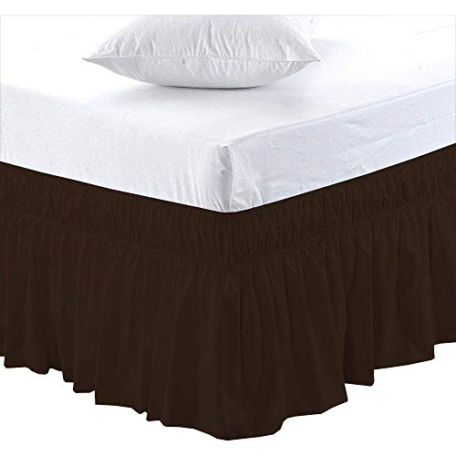 Black Friday & Cyber Monday Deals ! Ruffled Wrap Around Bed Skirt-24 Inches Drop Easy Fit King Size Chocolate Solid (Available for All Bed Sizes and Colors) ()