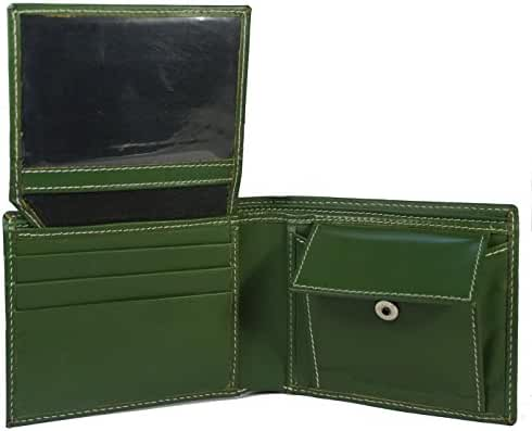 Leather Bifold Credit Crad-ID Billfold Forest Green Mens Wallet