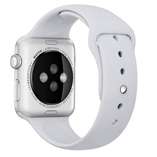 For Apple Watch Series 1/2 42mm, Oksale [Short-Length] - Sports Silicone Watch Replacement Strap Bracelet Band (White) (8 Mm Apple)