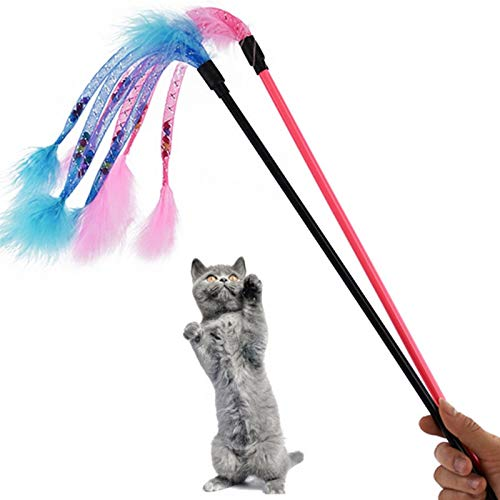 Isali Red/Blue Funny Cat Rod Cat Wand Pet Feather Elastic Interactive Interesting Pet Product Toy - (Color: Blue)