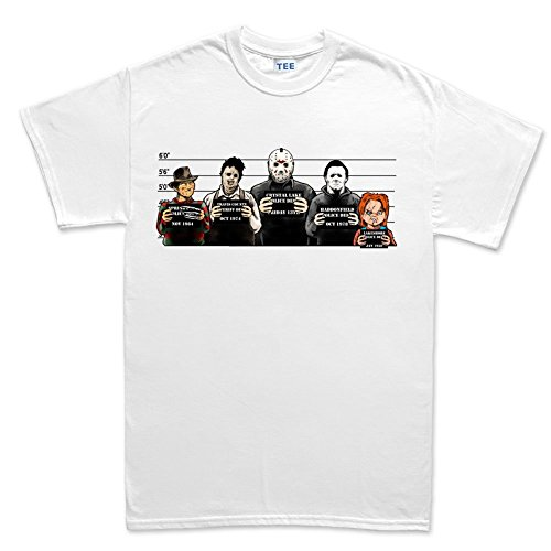 [Mens The Usual Horror Suspects Halloween T Shirt XL White] (Carrie White Halloween Costume)
