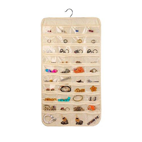 ComboCube Beige 80 Pockets Hanging Jewelry Organizer Adindashop