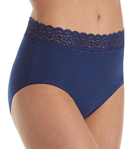 Vanity Fair Women's Flattering Lace Cotton Stretch Brief Panty 13396, Times Square Navy, - Shops Square In Times