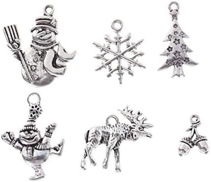 HEALLILY 6ピース合金チャームペンダントクリスマススノーフレーク雪だるまクリスマスツリーアンティークチベットチャームdiy用ネックレスブレスレットジュエリー作りアクセサリー