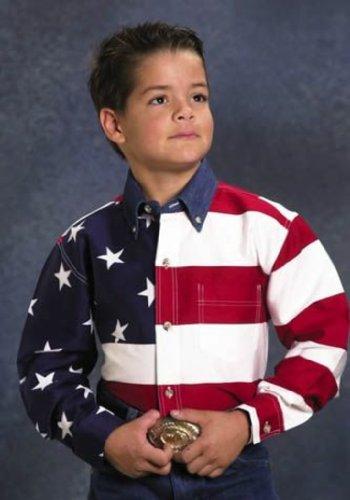 Roper 03-030-0185-0101 Re Boys Americana Long Sleeve Shirt Red XLarge