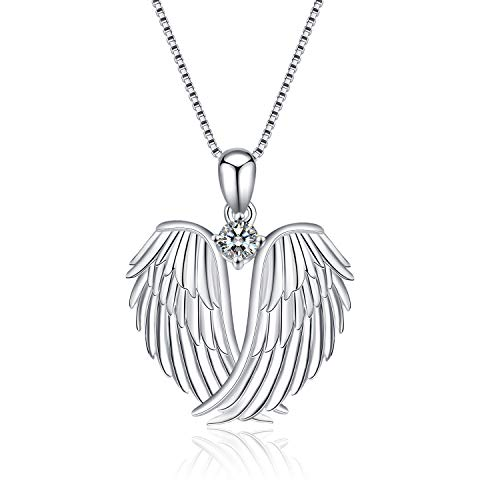YFN Sterling Silver Guardian Angel Wings Pendant Necklace Jewelry for Women Girls Gifts (Necklace)
