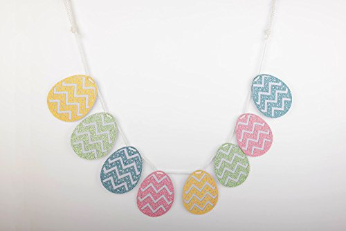Spring Accents Happy Easter Egg Pastel Chevron Glitter Garland / Banner (Happy Holidays Banner)