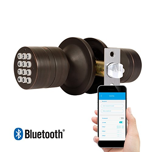 TurboLock TL-99 Bluetooth Smart Lock for Keyless Entry & Live Monitoring – Send & Delete eKeys w/ App on Demand (Bronze) - Bronze 99 Lever