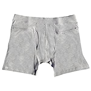 Clever Travel Companion Men's Underwear with Secret Pocket, Gray, X-Small