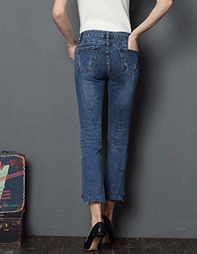Alta A Vintage Jeans Lunghi Donna Blu Sentao Skinny Matita 1 Pantaloni Eleganti Vita Legging Y8Hxw