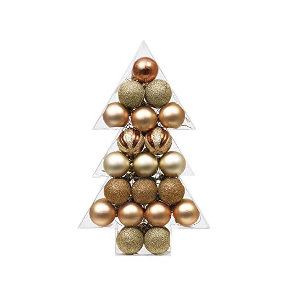 Valery Madelyn Palle di Natale 40 Pezzi 4 cm Palline di Natale, Legno Essenziale Rame e Oro, Base Infrangibile Ornamenti Palla di Natale Decorazione per Albero di Natale 1 spesavip