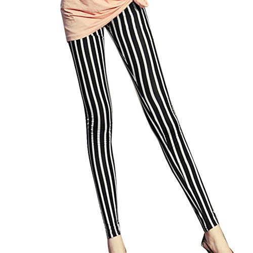 Moxeay Women Black & White Vertical Striped Leggings Ankle Length Pants - Girl Beetlejuice Costume