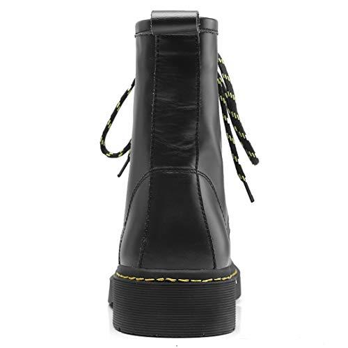 Negro Fashion Cordones Mujer Vestir Annieshoe Invierno Biker Estilo Botines Plataforma Boots Otoño Motero Botas n1OX5qXgY
